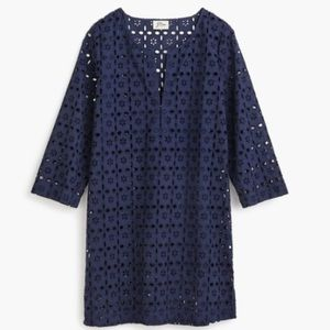 J. Crew Laser-cut Eyelet Tunic/Beach Cover Up Navy